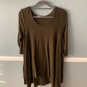 Tops - Olive Green 3/4 Sleeve Tunic Blouse